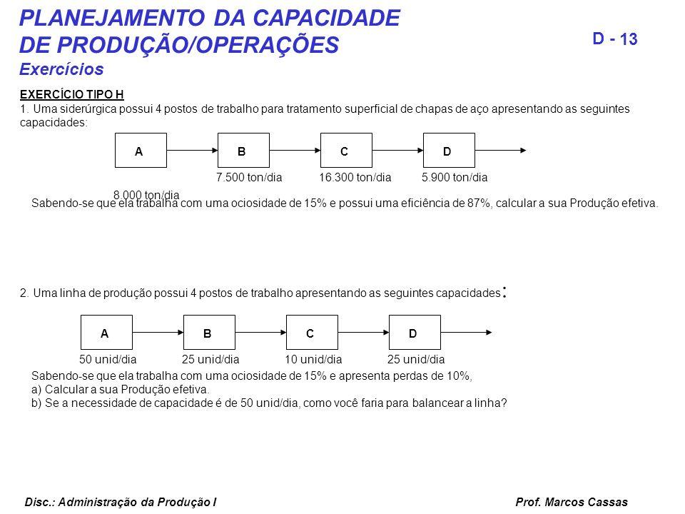 Prof. Marcos Cassas 13 D - Disc.: Administração da Produção I PLANEJAMENTO DA CAPACIDADE DE PRODUÇÃO/OPERAÇÕES Exercícios EXERCÍCIO TIPO H 1. Uma side