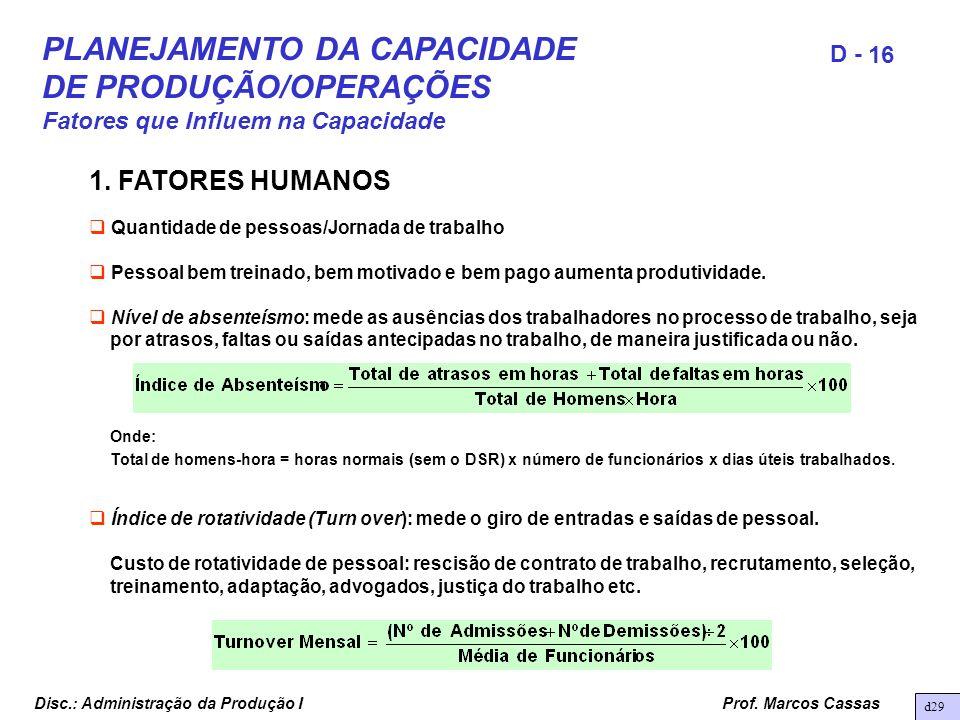 Prof. Marcos Cassas 16 D - Disc.: Administração da Produção I 1. FATORES HUMANOS Quantidade de pessoas/Jornada de trabalho Pessoal bem treinado, bem m