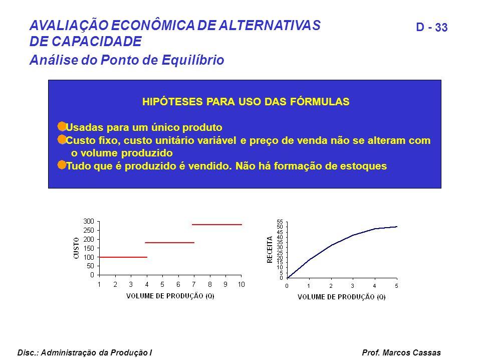 Prof. Marcos Cassas 33 D - Disc.: Administração da Produção I HIPÓTESES PARA USO DAS FÓRMULAS Usadas para um único produto Custo fixo, custo unitário