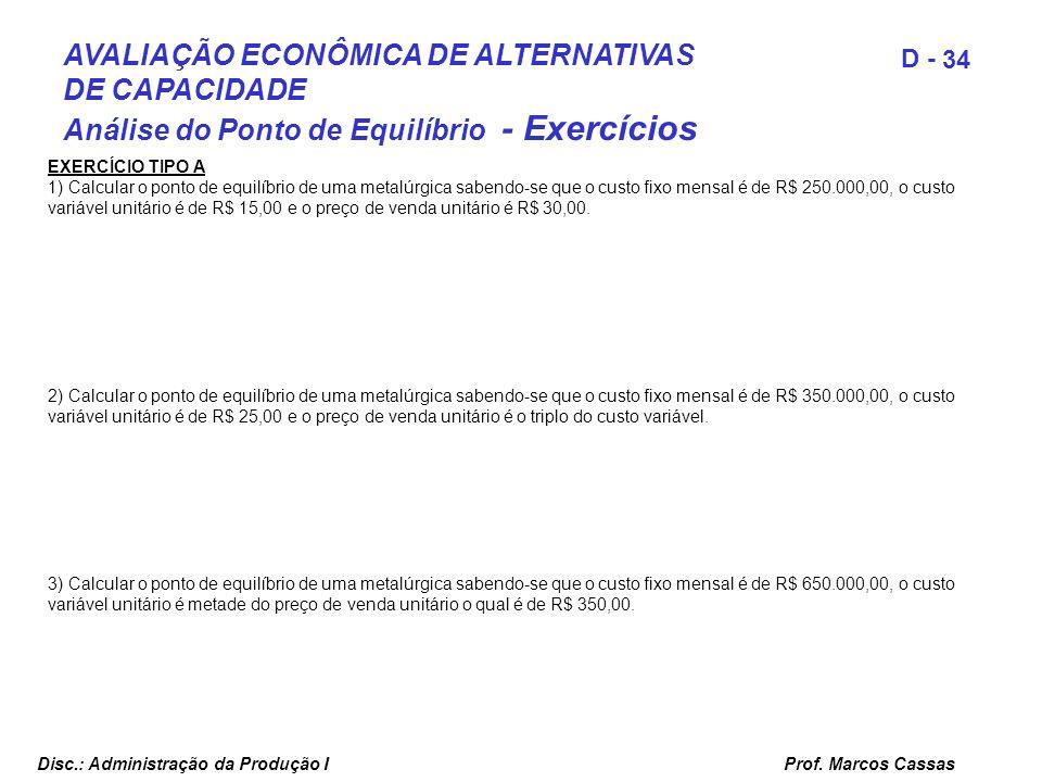 Prof. Marcos Cassas 34 D - Disc.: Administração da Produção I AVALIAÇÃO ECONÔMICA DE ALTERNATIVAS DE CAPACIDADE Análise do Ponto de Equilíbrio - Exerc