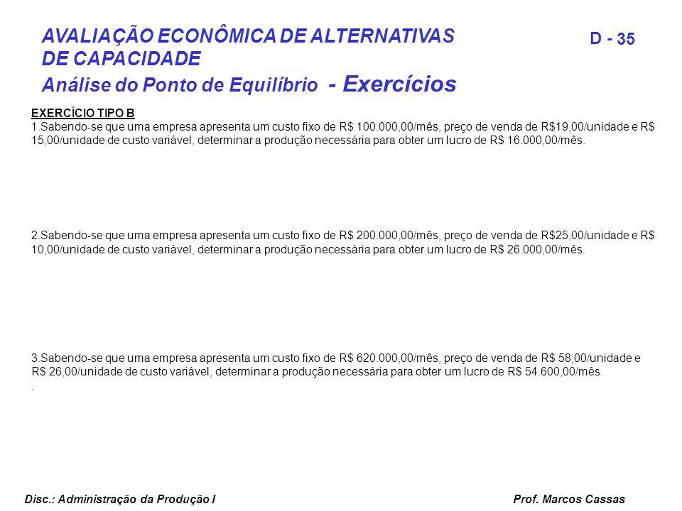 Prof. Marcos Cassas 35 D - Disc.: Administração da Produção I AVALIAÇÃO ECONÔMICA DE ALTERNATIVAS DE CAPACIDADE Análise do Ponto de Equilíbrio - Exerc