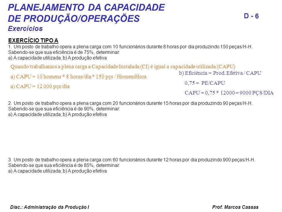 Prof. Marcos Cassas 6 D - Disc.: Administração da Produção I EXERCÍCIO TIPO A 1. Um posto de trabalho opera a plena carga com 10 funcionários durante