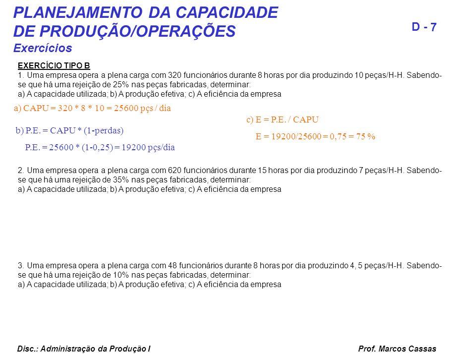 Prof. Marcos Cassas 7 D - Disc.: Administração da Produção I PLANEJAMENTO DA CAPACIDADE DE PRODUÇÃO/OPERAÇÕES Exercícios EXERCÍCIO TIPO B 1. Uma empre