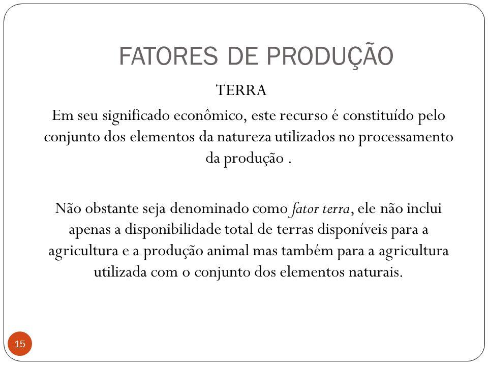 FATORES DE PRODUÇÃO TERRA Em seu significado econômico, este recurso é constituído pelo conjunto dos elementos da natureza utilizados no processamento