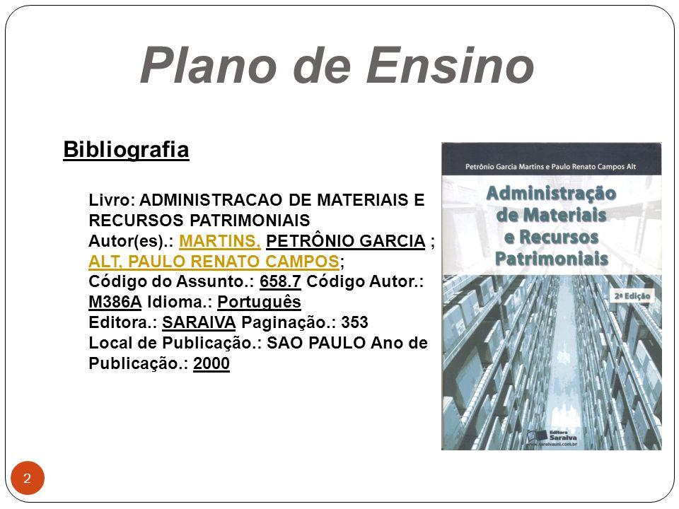 Plano de Ensino Bibliografia Livro: ADMINISTRACAO DE MATERIAIS E RECURSOS PATRIMONIAIS Autor(es).: MARTINS, PETRÔNIO GARCIA ; ALT, PAULO RENATO CAMPOS
