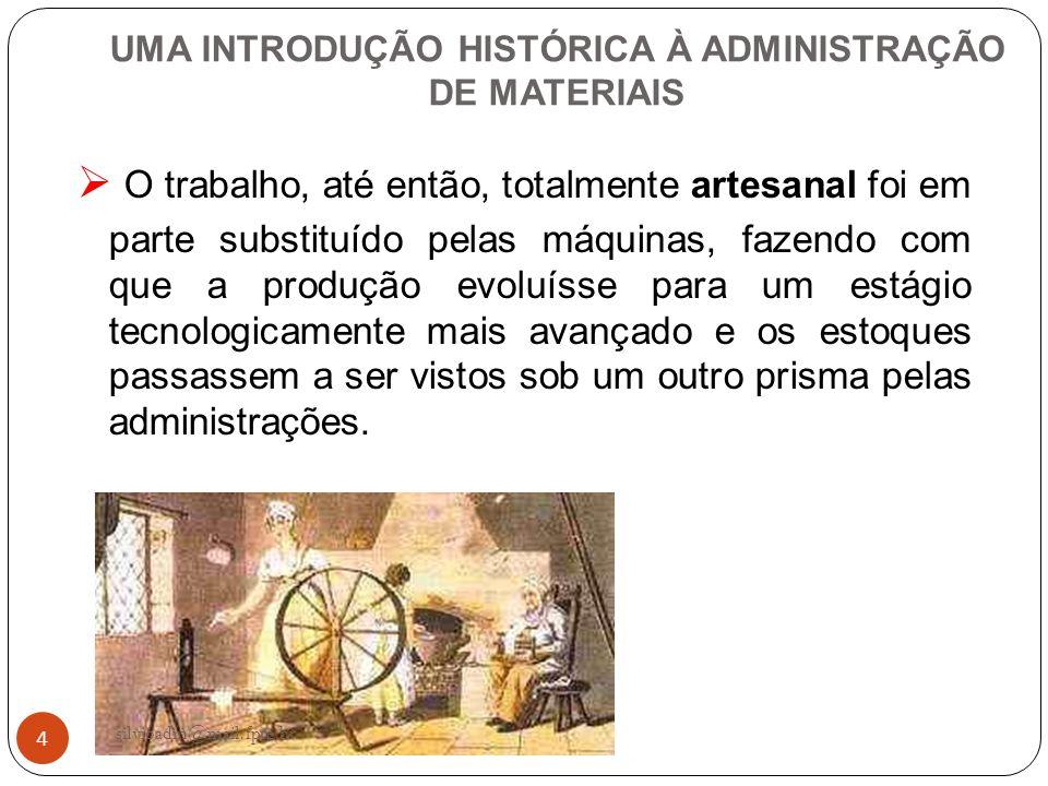 4 UMA INTRODUÇÃO HISTÓRICA À ADMINISTRAÇÃO DE MATERIAIS O trabalho, até então, totalmente artesanal foi em parte substituído pelas máquinas, fazendo c