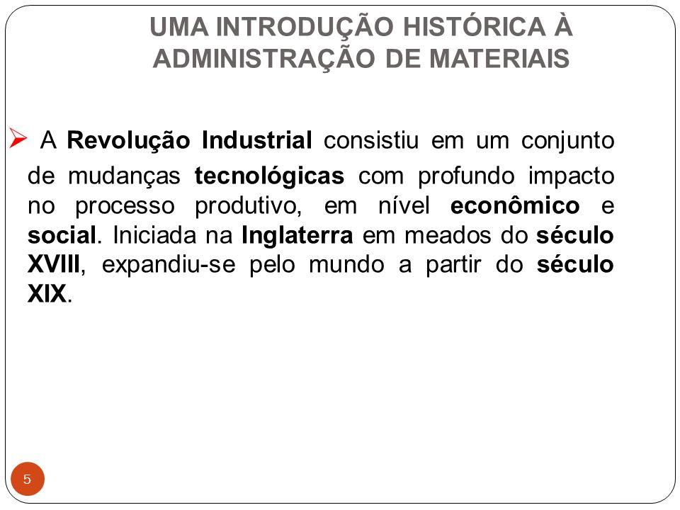 5 UMA INTRODUÇÃO HISTÓRICA À ADMINISTRAÇÃO DE MATERIAIS A Revolução Industrial consistiu em um conjunto de mudanças tecnológicas com profundo impacto