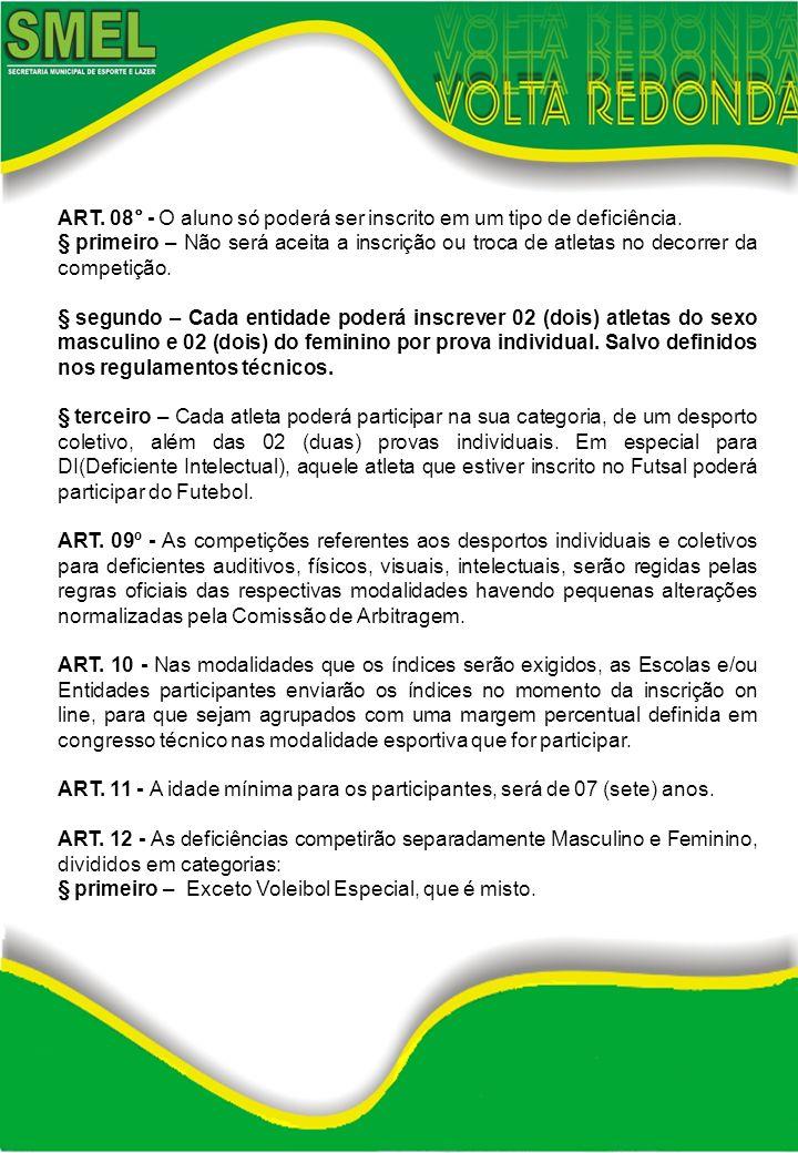 ART. 08° - O aluno só poderá ser inscrito em um tipo de deficiência. § primeiro – Não será aceita a inscrição ou troca de atletas no decorrer da compe