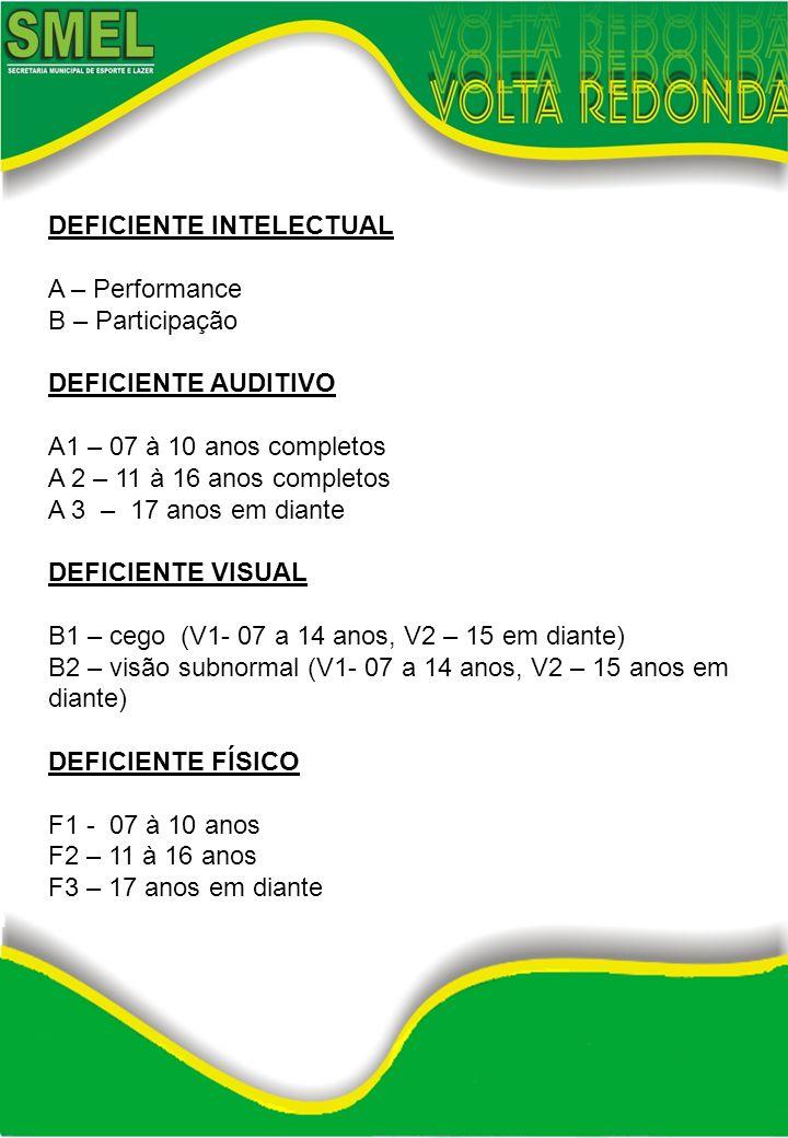 DEFICIENTE INTELECTUAL A – Performance B – Participação DEFICIENTE AUDITIVO A1 – 07 à 10 anos completos A 2 – 11 à 16 anos completos A 3 – 17 anos em