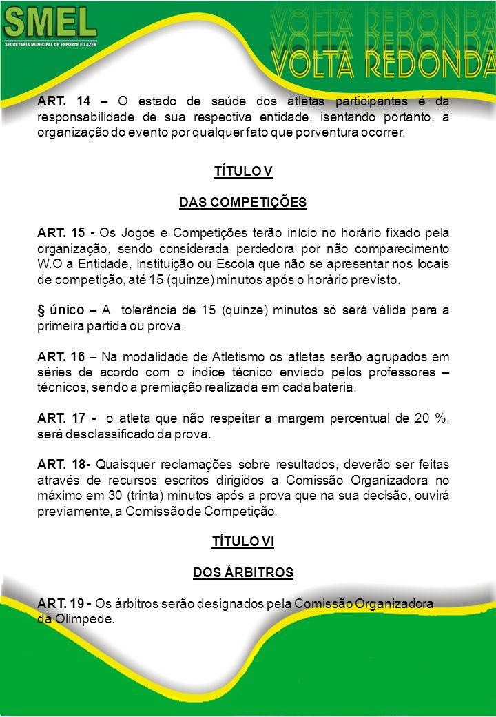 ART. 14 – O estado de saúde dos atletas participantes é da responsabilidade de sua respectiva entidade, isentando portanto, a organização do evento po