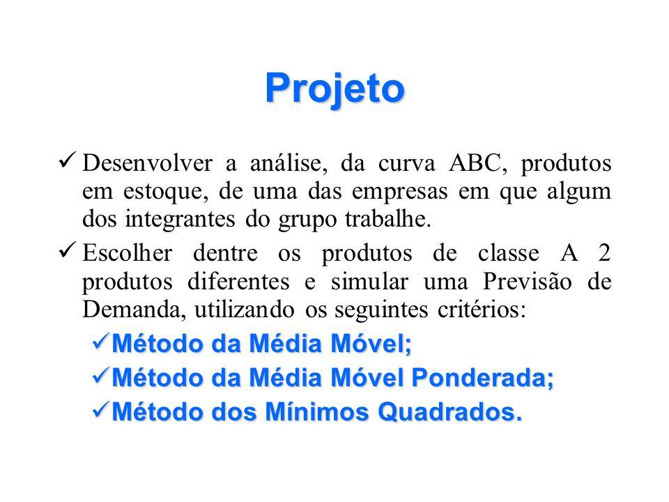 Projeto Desenvolver a análise, da curva ABC, produtos em estoque, de uma das empresas em que algum dos integrantes do grupo trabalhe. Escolher dentre