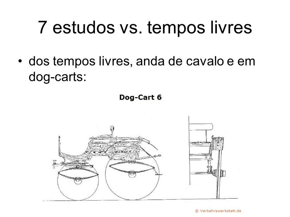 7 estudos vs. tempos livres dos tempos livres, anda de cavalo e em dog-carts: