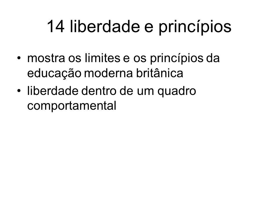 14 liberdade e princípios mostra os limites e os princípios da educação moderna britânica liberdade dentro de um quadro comportamental