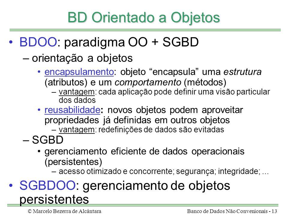 © Marcelo Bezerra de AlcântaraBanco de Dados Não Convenionais - 13 BD Orientado a Objetos BDOO: paradigma OO + SGBD –orientação a objetos encapsulamen