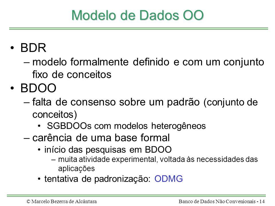 © Marcelo Bezerra de AlcântaraBanco de Dados Não Convenionais - 14 Modelo de Dados OO BDR –modelo formalmente definido e com um conjunto fixo de conce
