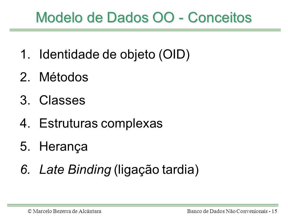 © Marcelo Bezerra de AlcântaraBanco de Dados Não Convenionais - 15 Modelo de Dados OO - Conceitos 1.Identidade de objeto (OID) 2.Métodos 3.Classes 4.E