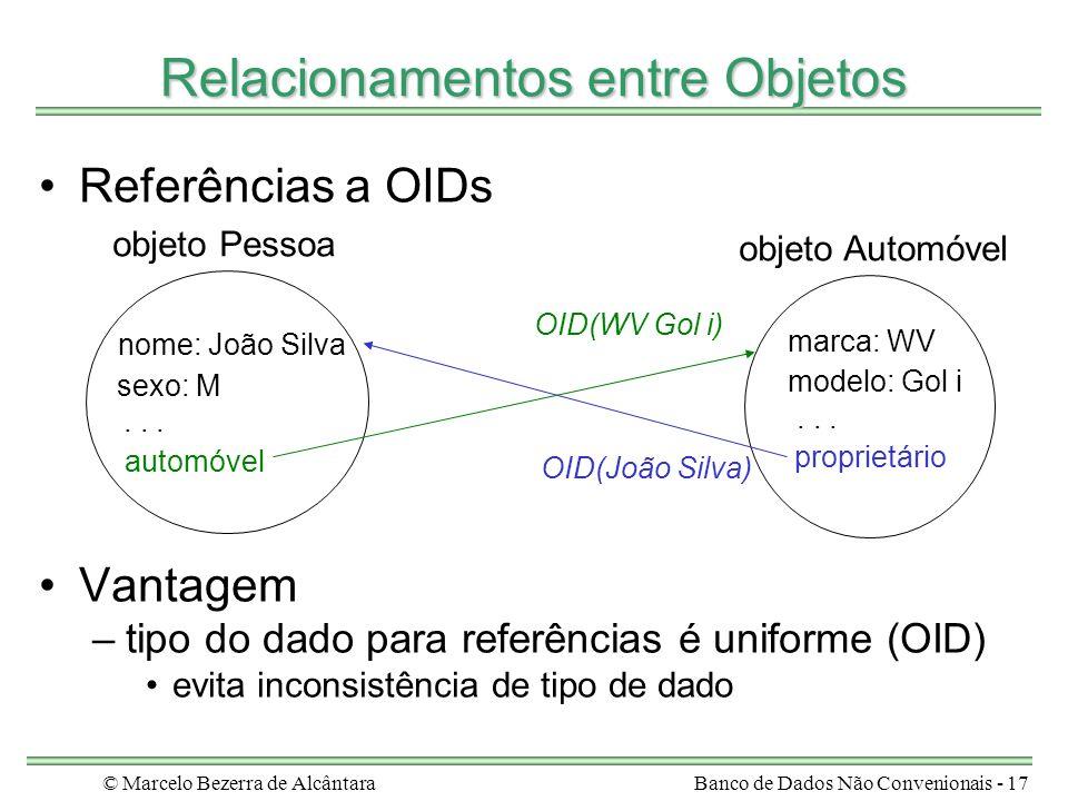© Marcelo Bezerra de AlcântaraBanco de Dados Não Convenionais - 17 Relacionamentos entre Objetos Referências a OIDs Vantagem –tipo do dado para referê