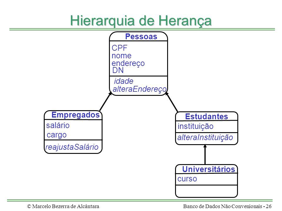 © Marcelo Bezerra de AlcântaraBanco de Dados Não Convenionais - 26 Hierarquia de Herança salário Empregados cargo reajustaSalário nome idade Pessoas e