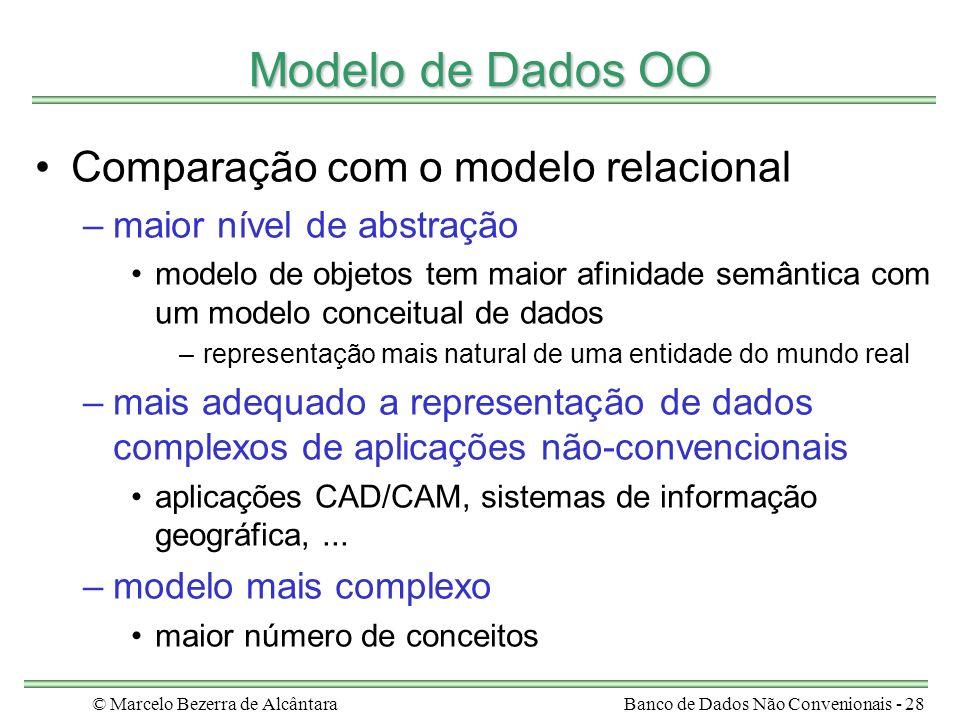 © Marcelo Bezerra de AlcântaraBanco de Dados Não Convenionais - 28 Modelo de Dados OO Comparação com o modelo relacional –maior nível de abstração mod