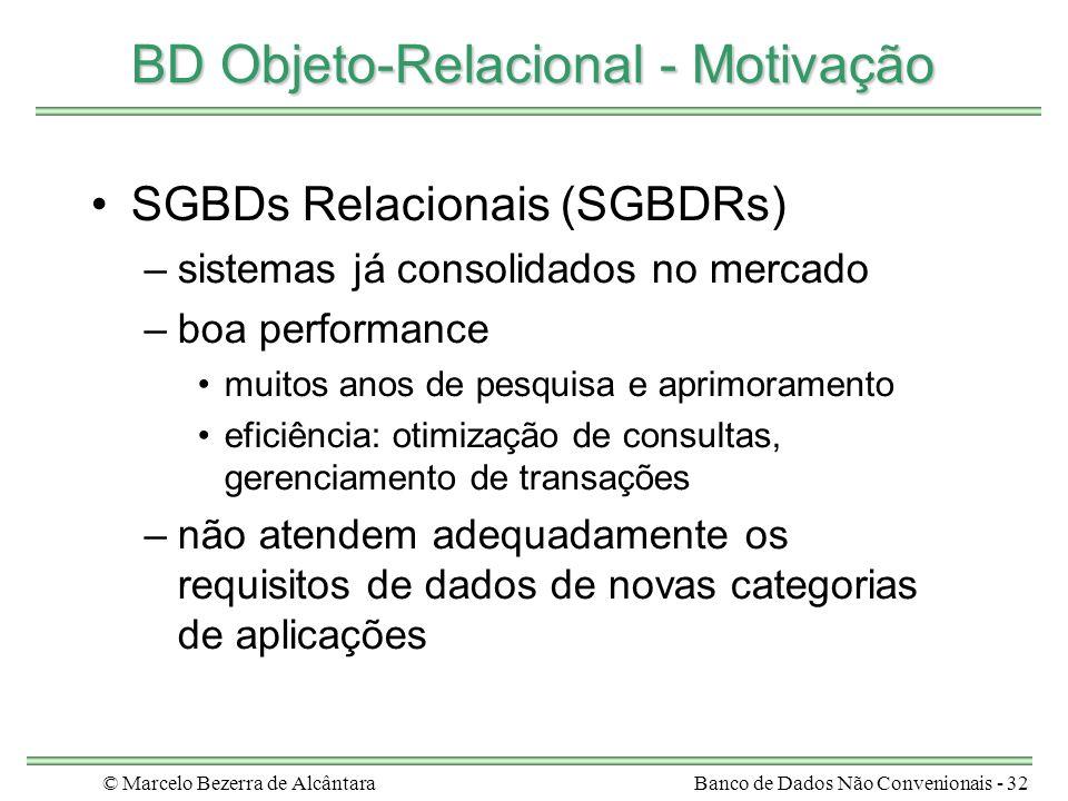 © Marcelo Bezerra de AlcântaraBanco de Dados Não Convenionais - 32 BD Objeto-Relacional - Motivação SGBDs Relacionais (SGBDRs) –sistemas já consolidad