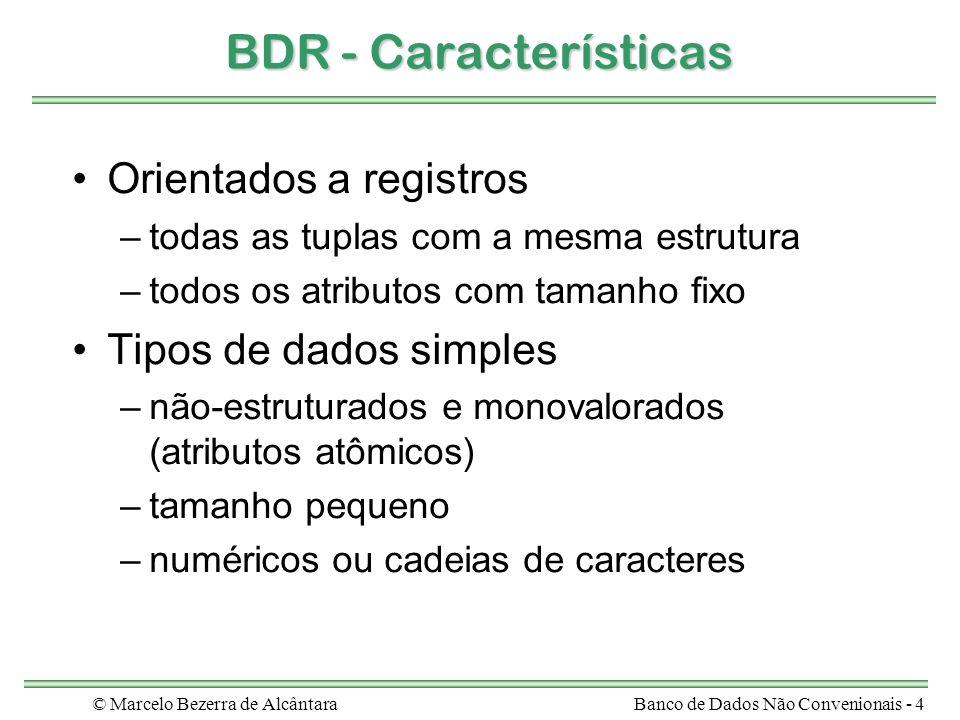 © Marcelo Bezerra de AlcântaraBanco de Dados Não Convenionais - 4 BDR - Características Orientados a registros –todas as tuplas com a mesma estrutura