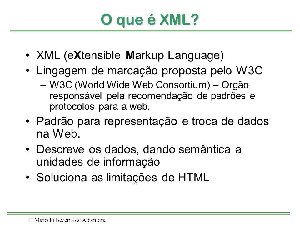 © Marcelo Bezerra de Alcântara O que é XML? XML (eXtensible Markup Language) Lingagem de marcação proposta pelo W3C –W3C (World Wide Web Consortium) –