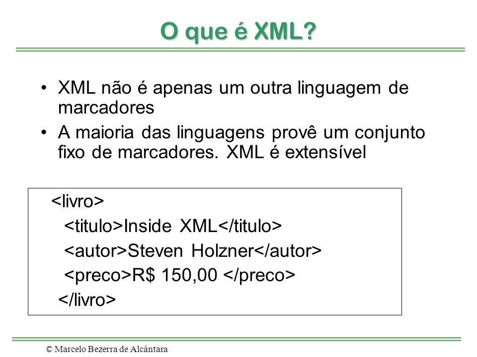 © Marcelo Bezerra de Alcântara O que é XML? XML não é apenas um outra linguagem de marcadores A maioria das linguagens provê um conjunto fixo de marca