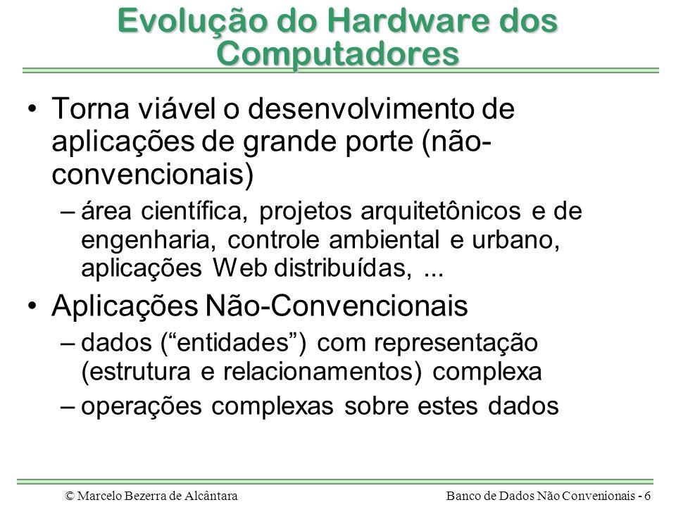 © Marcelo Bezerra de AlcântaraBanco de Dados Não Convenionais - 6 Evolução do Hardware dos Computadores Torna viável o desenvolvimento de aplicações d