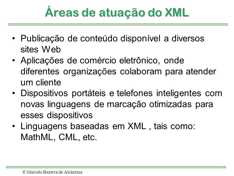 © Marcelo Bezerra de Alcântara Áreas de atuação do XML Publicação de conteúdo disponível a diversos sites Web Aplicações de comércio eletrônico, onde