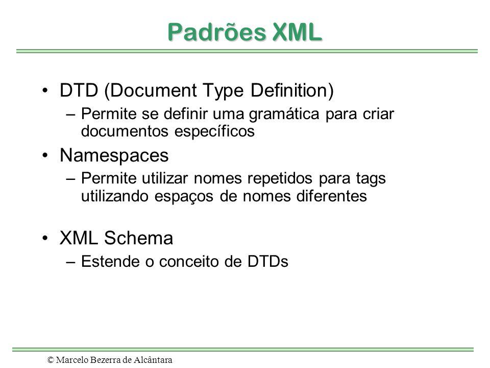 © Marcelo Bezerra de Alcântara Padrões XML DTD (Document Type Definition) –Permite se definir uma gramática para criar documentos específicos Namespac