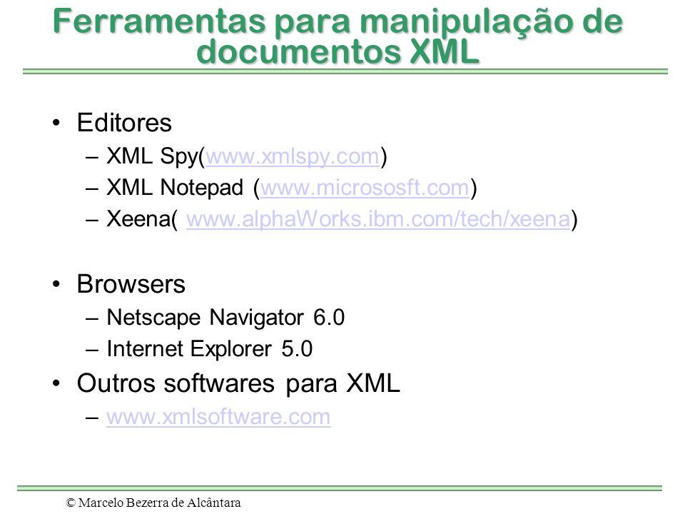 © Marcelo Bezerra de Alcântara Ferramentas para manipulação de documentos XML Editores –XML Spy(www.xmlspy.com)www.xmlspy.com –XML Notepad (www.micros