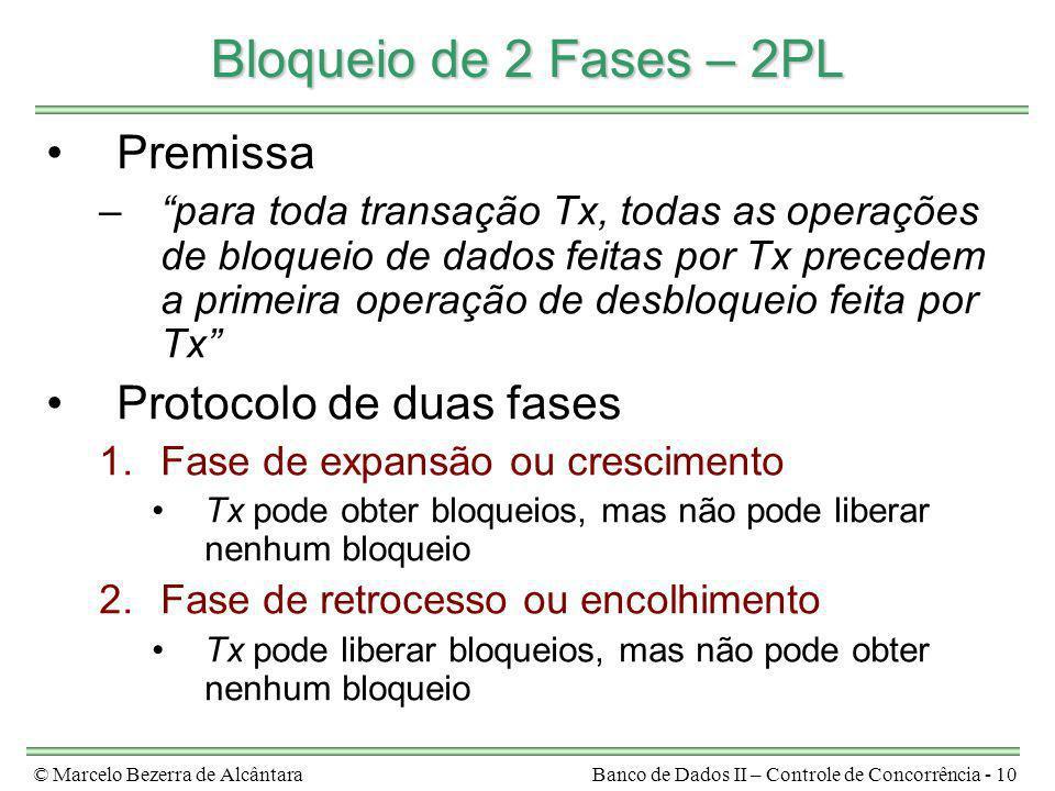 © Marcelo Bezerra de AlcântaraBanco de Dados II – Controle de Concorrência - 10 Bloqueio de 2 Fases – 2PL Premissa –para toda transação Tx, todas as o