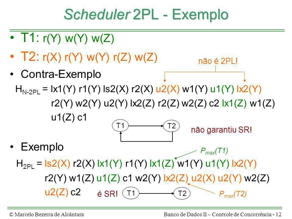 © Marcelo Bezerra de AlcântaraBanco de Dados II – Controle de Concorrência - 12 Scheduler 2PL - Exemplo T1: r(Y) w(Y) w(Z) T2: r(X) r(Y) w(Y) r(Z) w(Z