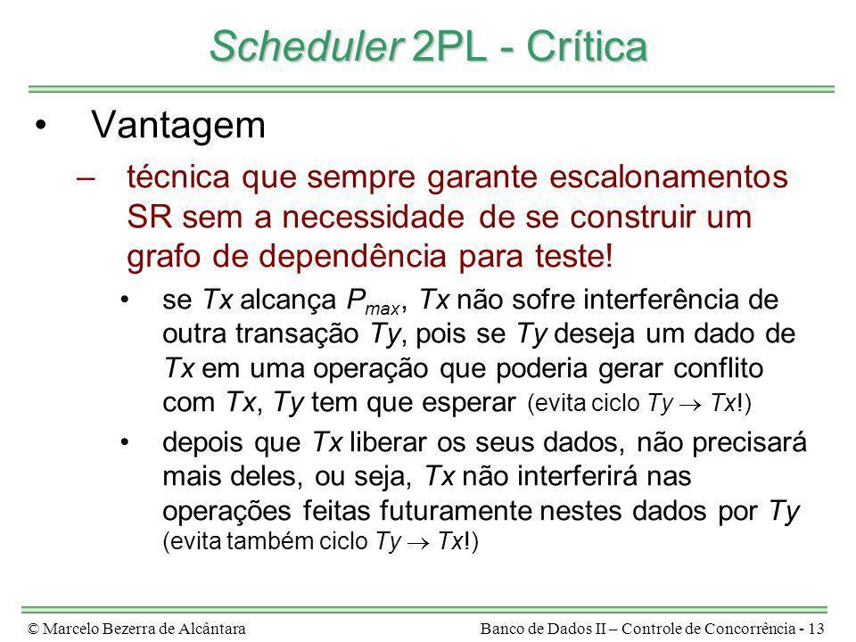 © Marcelo Bezerra de AlcântaraBanco de Dados II – Controle de Concorrência - 13 Scheduler 2PL - Crítica Vantagem –técnica que sempre garante escalonam