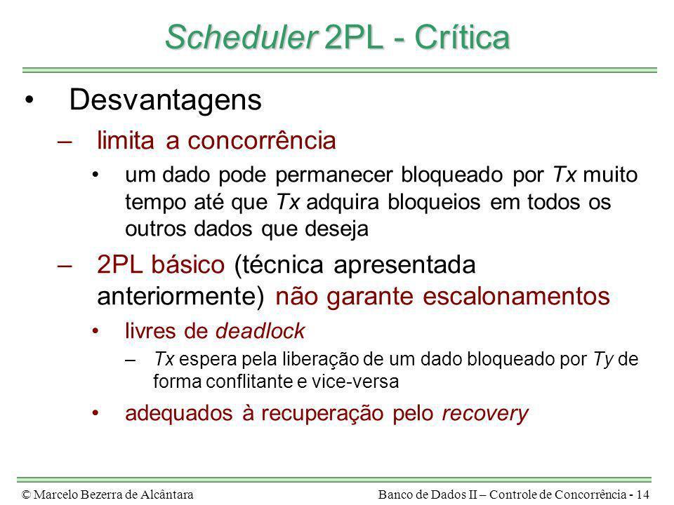 © Marcelo Bezerra de AlcântaraBanco de Dados II – Controle de Concorrência - 14 Scheduler 2PL - Crítica Desvantagens –limita a concorrência um dado po