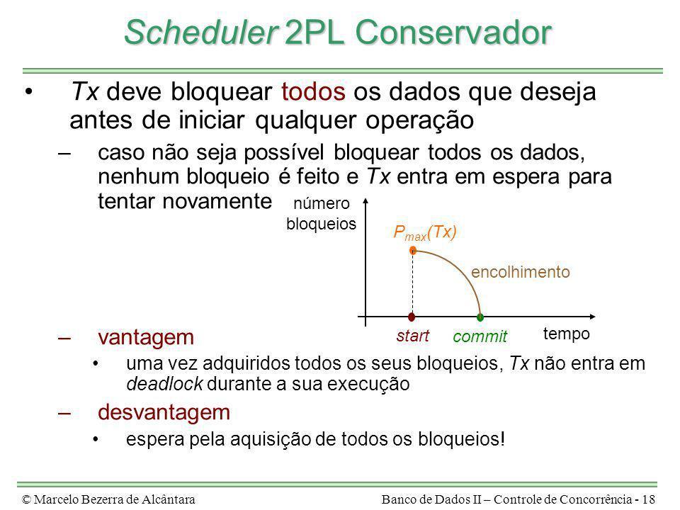 © Marcelo Bezerra de AlcântaraBanco de Dados II – Controle de Concorrência - 18 Scheduler 2PL Conservador Tx deve bloquear todos os dados que deseja a