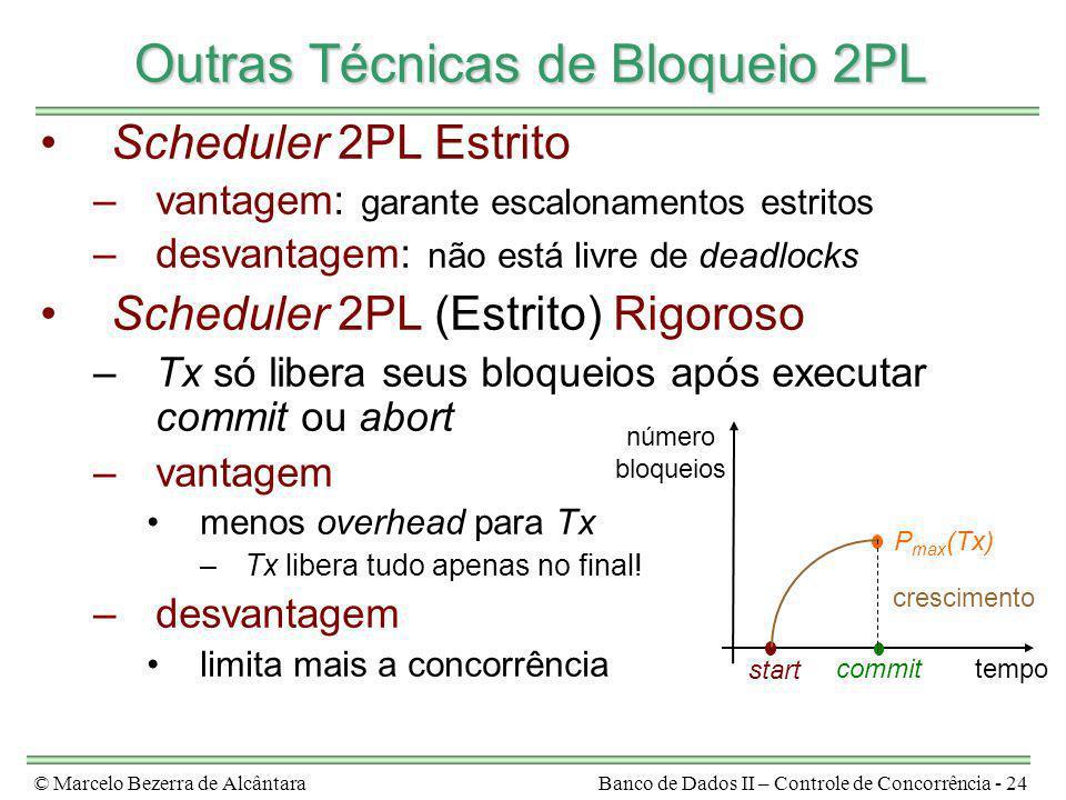 © Marcelo Bezerra de AlcântaraBanco de Dados II – Controle de Concorrência - 24 Outras Técnicas de Bloqueio 2PL Scheduler 2PL Estrito –vantagem: garan