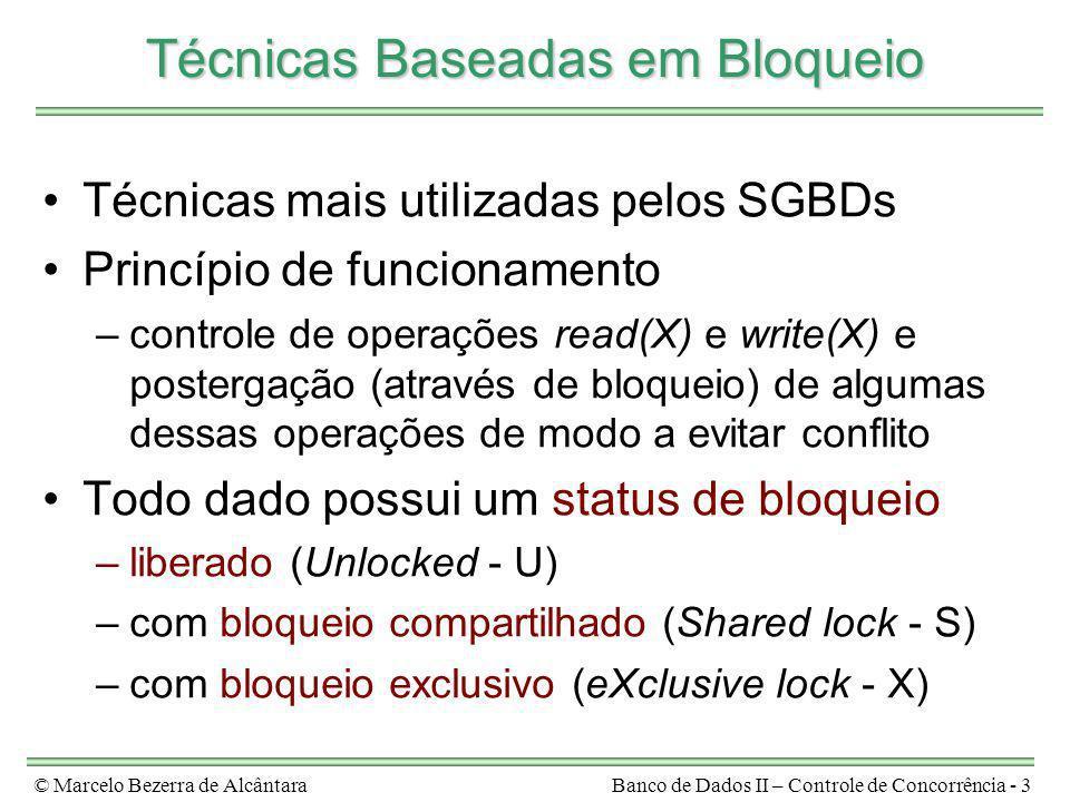 © Marcelo Bezerra de AlcântaraBanco de Dados II – Controle de Concorrência - 3 Técnicas Baseadas em Bloqueio Técnicas mais utilizadas pelos SGBDs Prin