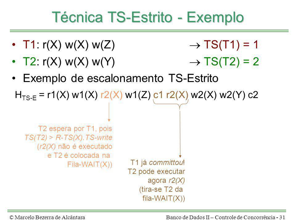 © Marcelo Bezerra de AlcântaraBanco de Dados II – Controle de Concorrência - 31 Técnica TS-Estrito - Exemplo T1: r(X) w(X) w(Z) TS(T1) = 1 T2: r(X) w(