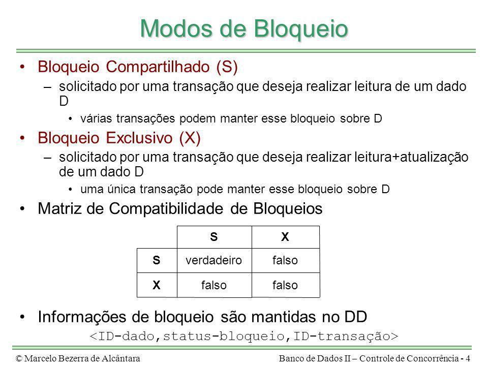 © Marcelo Bezerra de AlcântaraBanco de Dados II – Controle de Concorrência - 4 Modos de Bloqueio Bloqueio Compartilhado (S) –solicitado por uma transa
