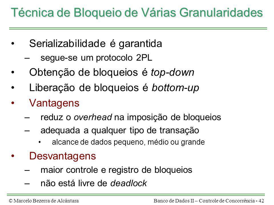 © Marcelo Bezerra de AlcântaraBanco de Dados II – Controle de Concorrência - 42 Técnica de Bloqueio de Várias Granularidades Serializabilidade é garan