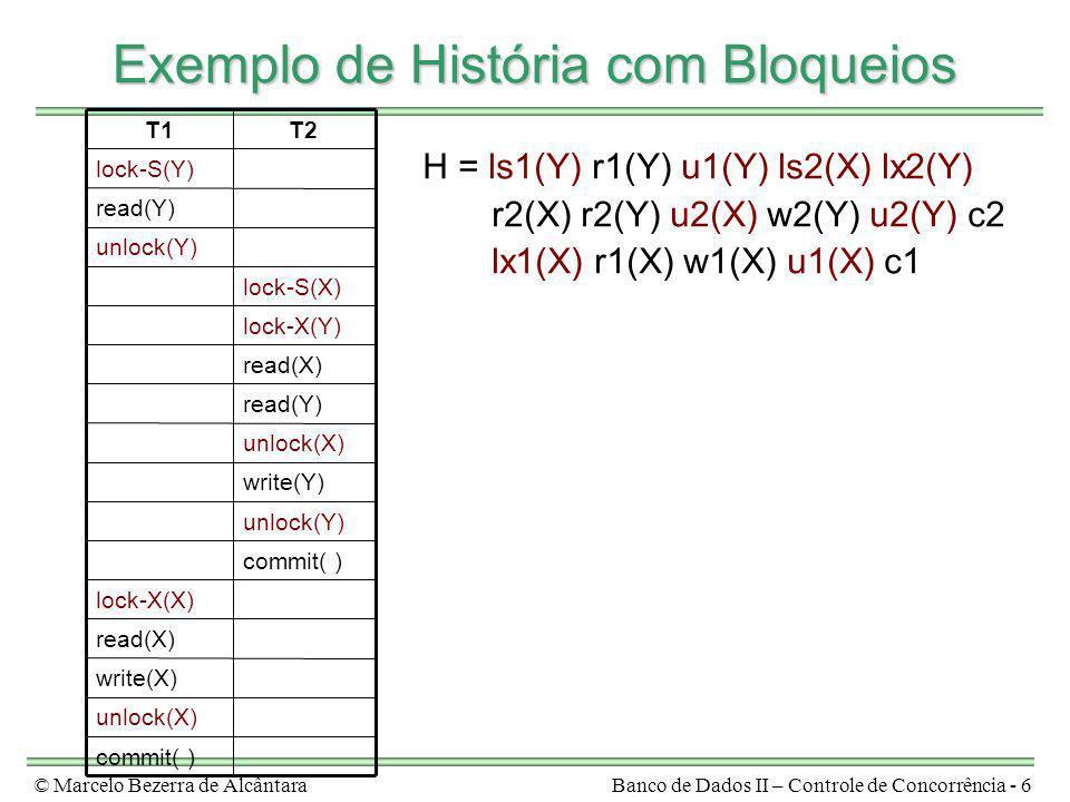 © Marcelo Bezerra de AlcântaraBanco de Dados II – Controle de Concorrência - 6 Exemplo de História com Bloqueios H = ls1(Y) r1(Y) u1(Y) ls2(X) lx2(Y)