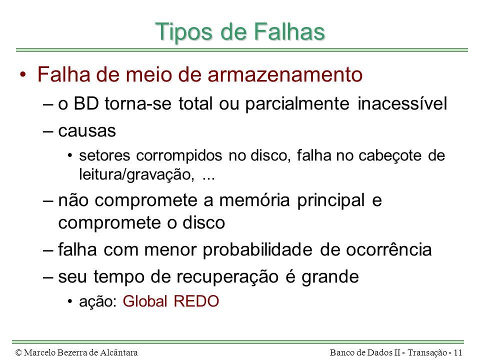 © Marcelo Bezerra de AlcântaraBanco de Dados II - Transação - 11 Tipos de Falhas Falha de meio de armazenamento –o BD torna-se total ou parcialmente i