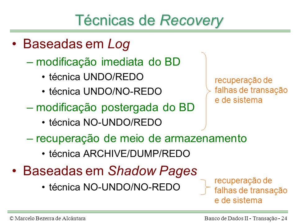 © Marcelo Bezerra de AlcântaraBanco de Dados II - Transação - 24 Técnicas de Recovery Baseadas em Log –modificação imediata do BD técnica UNDO/REDO té