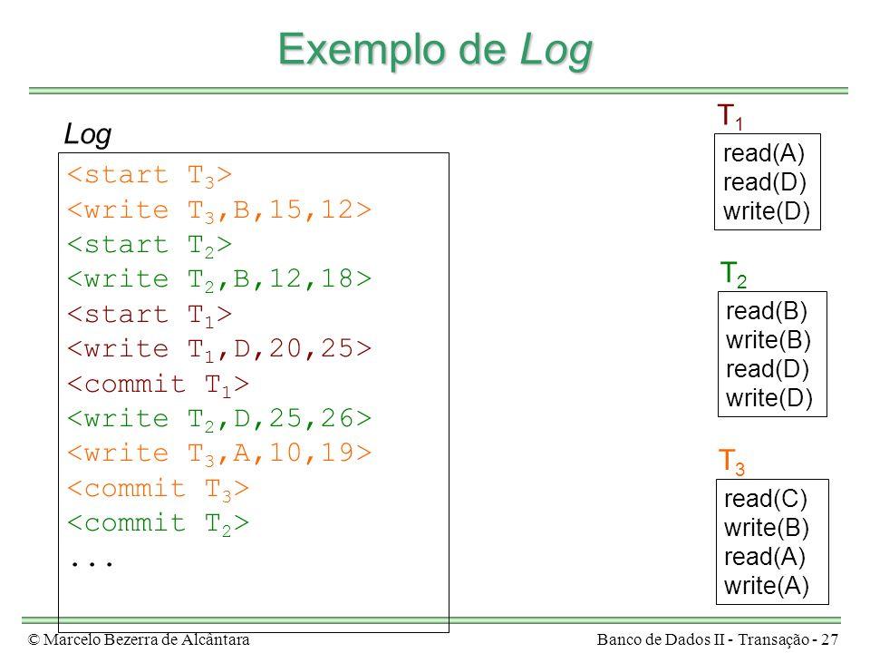 © Marcelo Bezerra de AlcântaraBanco de Dados II - Transação - 27 Exemplo de Log read(A) read(D) write(D) T1T1 read(B) write(B) read(D) write(D) T2T2 read(C) write(B) read(A) write(A) T3T3...