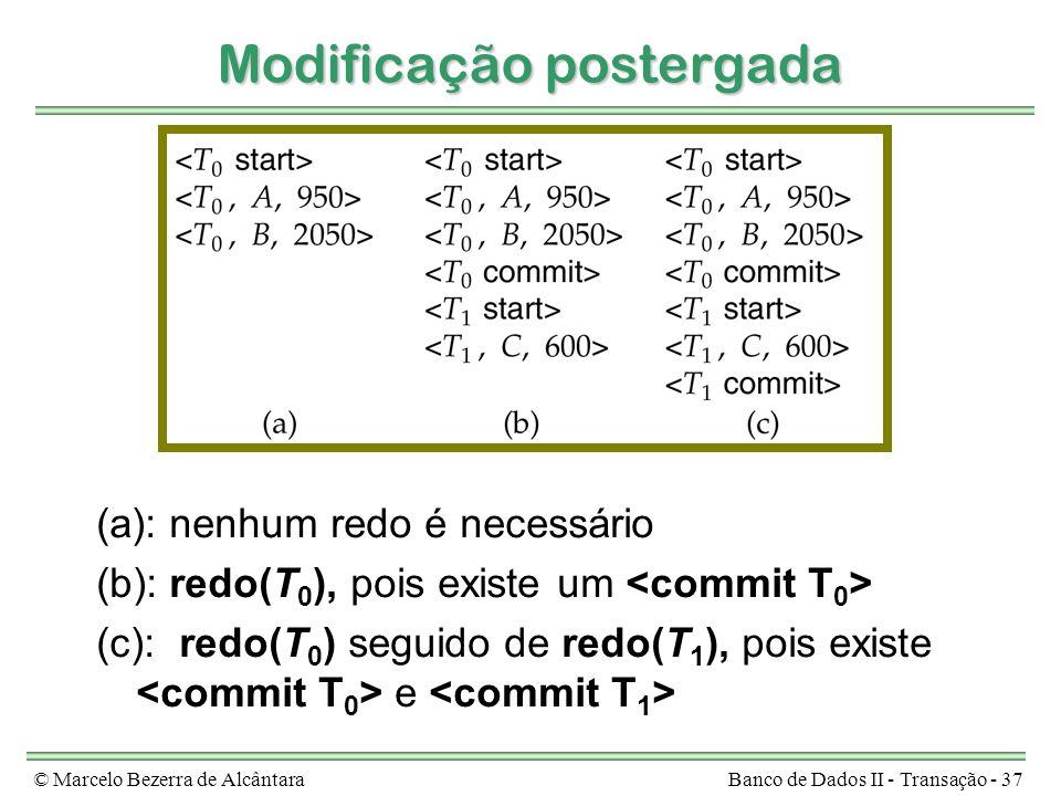 © Marcelo Bezerra de AlcântaraBanco de Dados II - Transação - 37 Modificação postergada (a): nenhum redo é necessário (b): redo(T 0 ), pois existe um (c): redo(T 0 ) seguido de redo(T 1 ), pois existe e