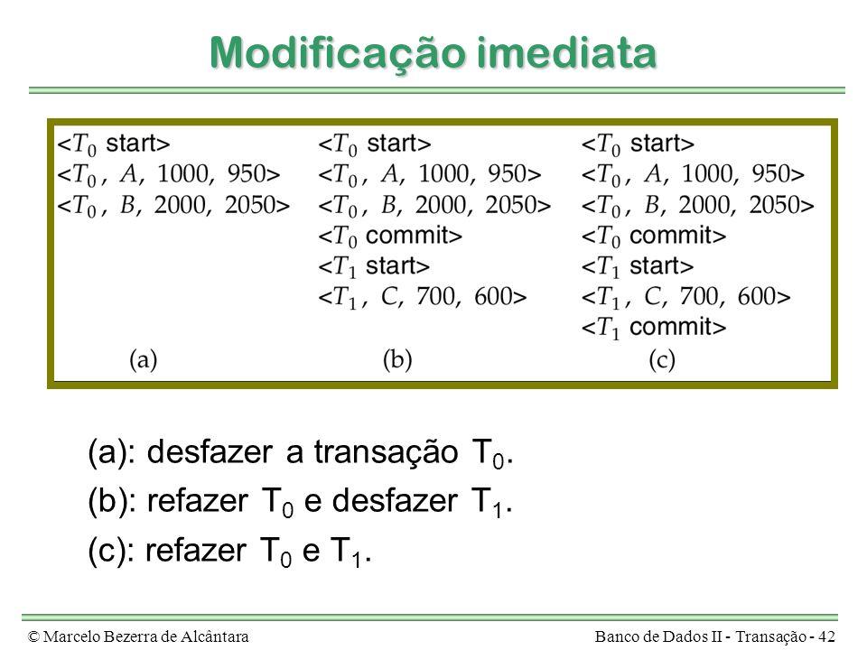 © Marcelo Bezerra de AlcântaraBanco de Dados II - Transação - 42 Modificação imediata (a): desfazer a transação T 0. (b): refazer T 0 e desfazer T 1.