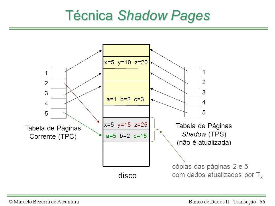 © Marcelo Bezerra de AlcântaraBanco de Dados II - Transação - 66 Técnica Shadow Pages disco Tabela de Páginas Corrente (TPC) Tabela de Páginas Shadow (TPS) (não é atualizada) 5 4 3 2 1 5 4 3 2 1 x=5 y=10 z=20 x=5 y=15 z=25 a=1 b=2 c=3 a=5 b=2 c=15 cópias das páginas 2 e 5 com dados atualizados por T x