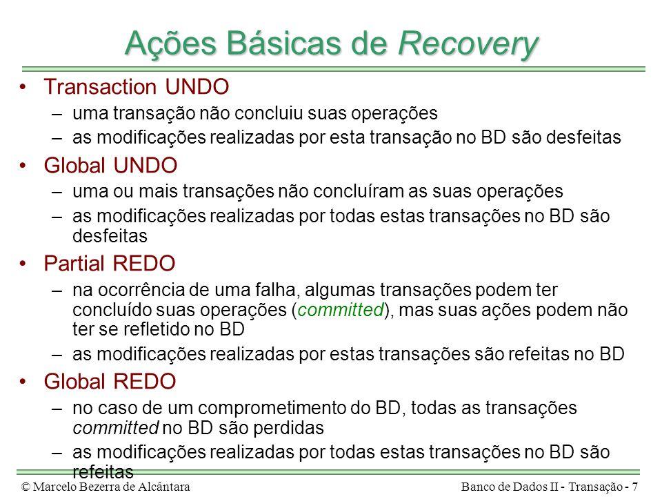 © Marcelo Bezerra de AlcântaraBanco de Dados II - Transação - 7 Ações Básicas de Recovery Transaction UNDO –uma transação não concluiu suas operações