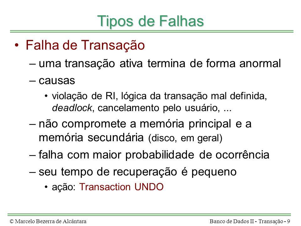© Marcelo Bezerra de AlcântaraBanco de Dados II - Transação - 9 Tipos de Falhas Falha de Transação –uma transação ativa termina de forma anormal –caus